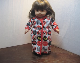 Mini-Mouse Kimono dress for a special Bitty Baby (or other similarly sized doll). All new materials. Ready to ship!