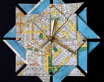 New York City Street Map Origami Clock-Large