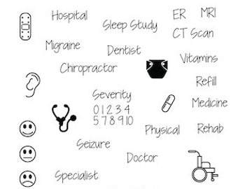 Wellness - planner stamps - photopolymer clear stamps - health - planning - doctor - track