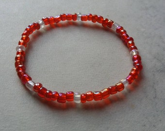 Red beaded bracelet stretchy