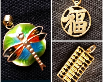 Vintage Chinese Silver Gold Plated Enamel pendants- Dragonfly on leaf, Chinese Word (good fortune) and Abacus