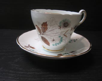 Vintage Regency Bone China Teacup and Saucer Decorated with Dandelion Puffs and Dried Leaves
