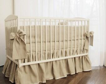 Linen Crib bedding - gathered skirt and 4 side bumper- linen nursery bedding, natural linen
