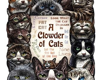 A Clowder of Cats 11 x14 cat art print