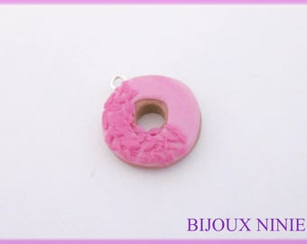 Delicious fimo pink donut charm