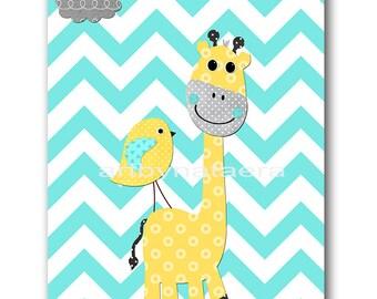 aqua gray yellow Baby Room Decor Baby Boy Nursery Art Decor Baby Nursery Decor Kids Wall Art Kids Art Giraffe nursery Baby Boy Print
