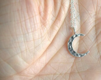 crescent moon necklace, sterling silver minimalist necklace, silver moon, celestial jewelry, hammered moon, simple everyday silver necklace