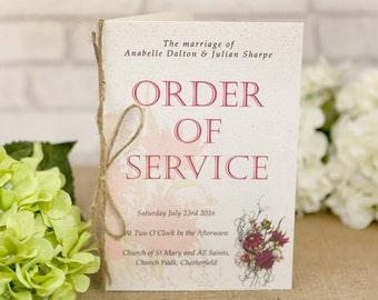 Botanical RED flower Order of Service booklets x 50