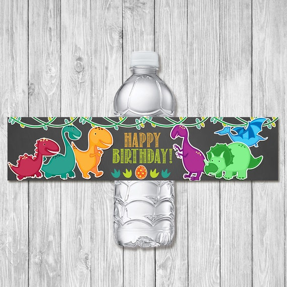 Dinosaur Birthday Drink Label Chalkboard | Dinosaur Birthday Party Water Bottle Label | Dinosaur 1st Birthday Party Favors Printables