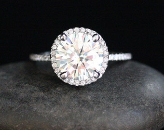 Forever Classic Moissanite Diamond Engagement Ring in 14k White Gold with Moissanite Round 8mm and Diamond Halo Ring