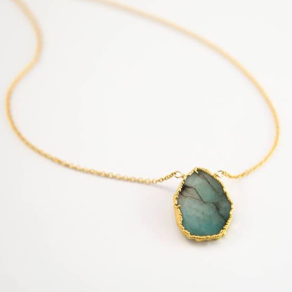 Raw emerald necklace may birthstone jewelry gemstone slice aloadofball Image collections