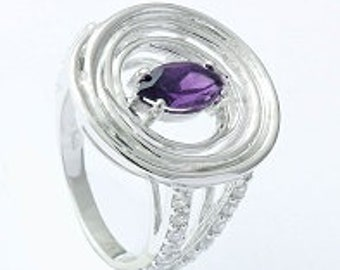 Amethyst ring,925 sterling silver ring,Handmade ring,Gemstone ring,silver ring