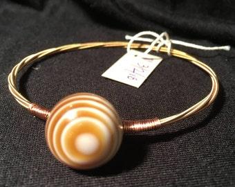 7 3/4 - Unique guitar strings bracelet with vintage buttons