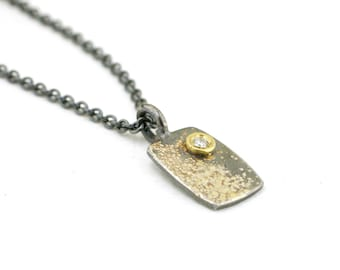 Mini Fused Gold Lichen Rectangle Charm Diamond Necklace Sterling Silver Nature Jewelry