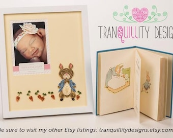 """MADE TO ORDER - Birth Announcement paper quilling photo mat, to match nursery (10""""x12"""" mat size for 5""""x7"""" announcement, unframed) baby room"""