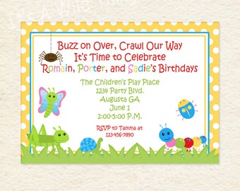 Siblings Joint Party Bug Themed Printable Invitations