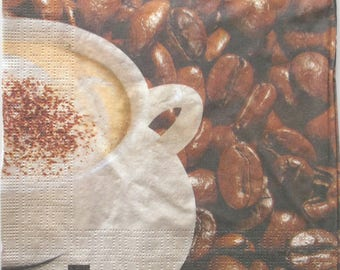 20 Cup of CAPPUCCINO and grains of coffee art - paper napkins 3273