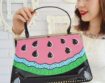 Watermelon A Go-Go Handbag, Vintage and Upcycled