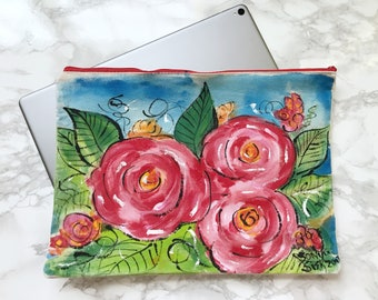 Handpainted iPad Cover, Large Clutch