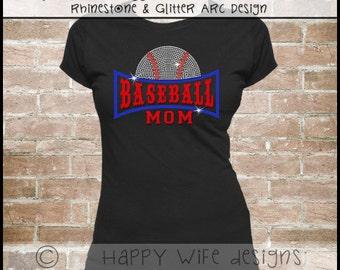 Rhinestone Baseball Mom Shirt - Half Baseball Arc Design