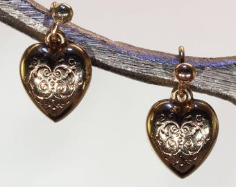 Antique Victorian Engraved Gold Heart Earrings 9k Gold