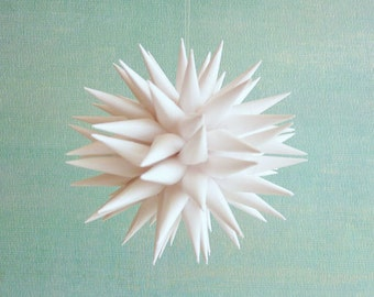 Bright White Modern Christmas Ornament Paper Polish Star Ornament Christmas Tree Decor Holiday Ornament Kissa Design - Linen White, 3 inch