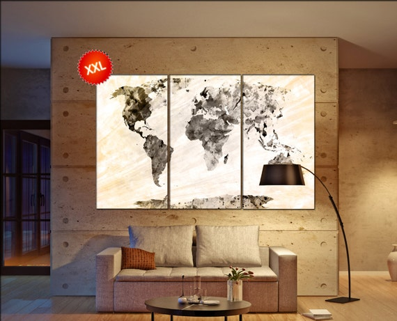Black yellow world map  print on canvas wall art Black yellow world map artwork large world map Print home office decoration