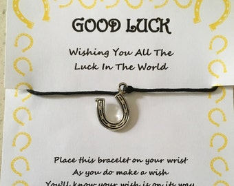 Good luck, horseshoe, all the luck in the world quote, competition, exam, bracelet, wish, charm, card, gift, poem