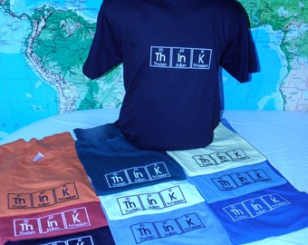 ThInK T-shirt Embroidered in Periodic Table Letters Short Sleeve T   Made To Order