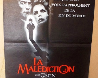 The Omen    Vintage 1974 French Movie Poster -  Gregory Peck, Lee Remick
