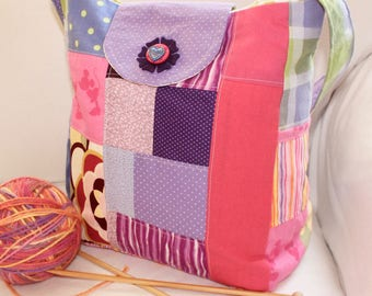 "SWEET, pink and purple, beginning knitter, Cartoon mouse, holiday gift idea, girls bag, small bag, yarn dispenser, 9.5"" x  11"" x 6"", handbag"