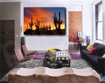 Arizona Sonoran Desert at Sunset Cactus Art Canvas Poster Print Home Wall Decor