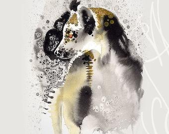 "Martinefa's Original watercolor and Ink Lemur ""Maki Catta"""