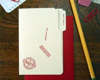 letterpress many thanks mini manila file folder greeting cards pack of 6 red ink on manila paper with red envelope