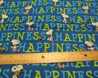 17 x 43 Inches Blue Snoopy/Woodstock Happiness Cotton Fabric Remnant