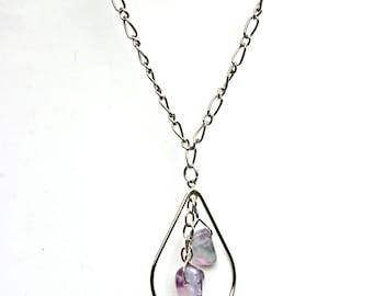 Fluorite Necklace, Pendant Necklace, Teardrop Necklace
