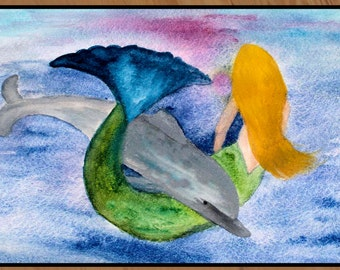 Playful dolphin and mermaid floor mat art area rug indoor-outdoor area rug,  Floor Mat. Available in 3 sizes