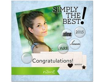 Graduation Card Photoshop Template 003