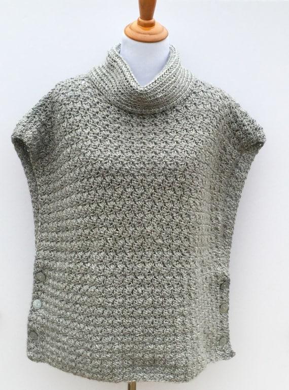 Crochet Poncho Pattern Women Girls Cowl Neck Poncho Fiona