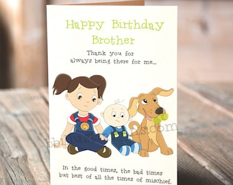 brother gift, funny birthday card, card for him, funny greeting card, printable cards, brother birthday, blank cards, happy birthday card,