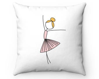 Ballerina (Pink) - Spun Polyester Square Throw Pillow - Ballet Inspired Accent Pillow - Dance Dancer Pink Tutu Girls Room Nursery Decor