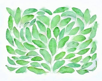 Leaves Original Watercolor Brush Illustration Painting