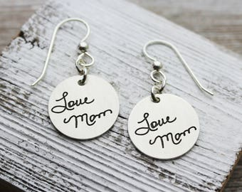 Custom Handwriting Sterling Silver Earrings engraved with your loved one's actual handwriting
