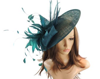 Adonis Teal Fascinator Hat for Weddings, Races, and Special Events With Headband