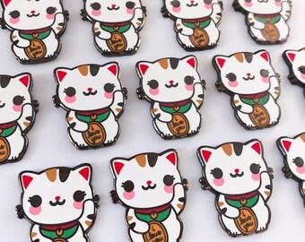 Lucky Cat Maneki Neko Enamel Pin