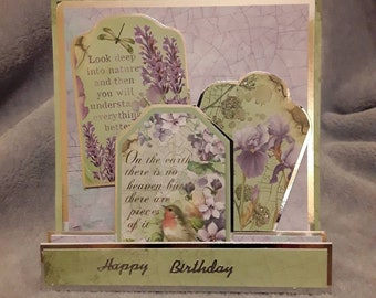 Lilic, pale green Birthday card