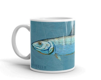 Outdoor Gift, Coffee Gift, Fish Coffee Mug, Husband Gift, Fish Mug, Bonefish Mug, Fishing Gift, for Fisherman Gift, Fish Gift for Him