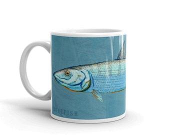 Outdoor Gift, Coffee Gift, Fish Coffee Mug, Husband Gift, Fish Mug, Bonefish Mug, Fishing Gift, for Fisherman Gift, Fish Gift for Him