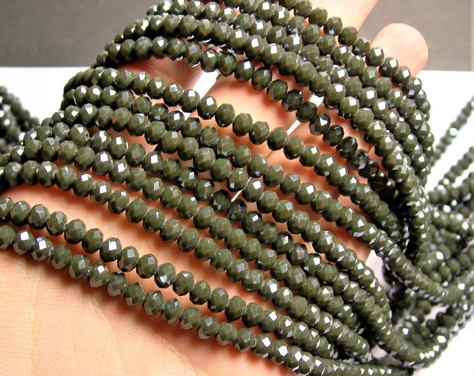 Crystal faceted rondelle - 97 pcs - 6 mm - AA quality - full strand - Green - GSH69