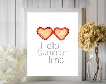 Hello Summertime Heart Sunglasses Digital Printable Wall Art 8x10 10x8